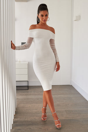 White Ruched Mesh Bardot Midi Dress - Club L London