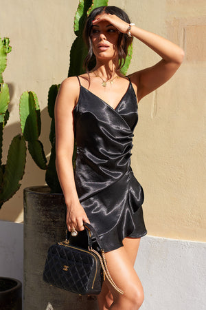 Black Strappy Frill Wrap Mini Dress - Club L London