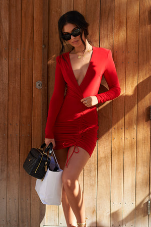 Red Plunge Neck Long Sleeved Ruched Mini Dress - Club L London