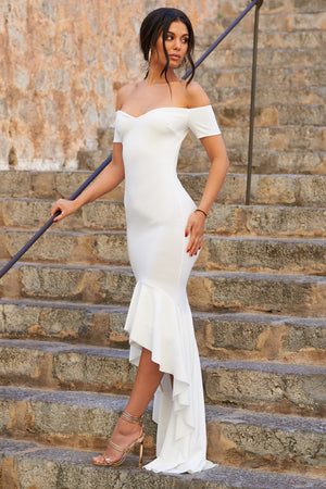 White Bardot High Low Frill Hem Scuba Maxi Dress - Club L London