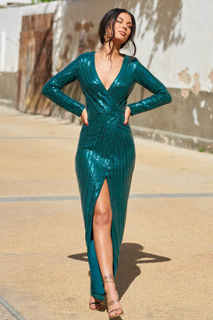 Emerald Green Wrap Sequin Split Maxi Dress - Club L London