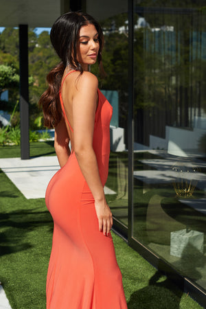 Orange Cross Back Fishtail Maxi Dress - Club L London