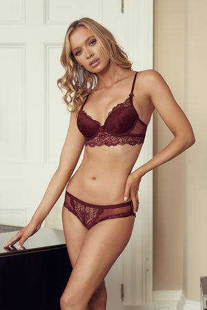 Berry Lace Go Girl Bra and Brief Lingerie Set - Club L London