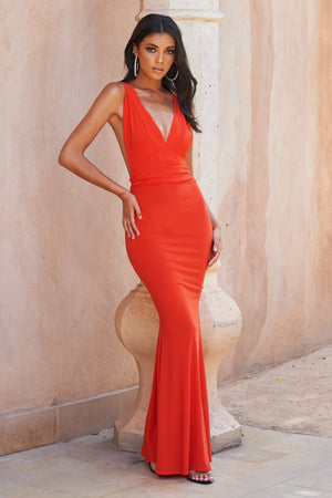 Orange Strappy Cross Back Fishtail Maxi Dress - Club L London