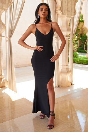Black Cami Strap Maxi Dress With Thigh Split - Club L London