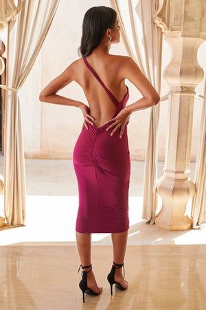 Raspberry One Shoulder Backless Midi Dress - Club L London