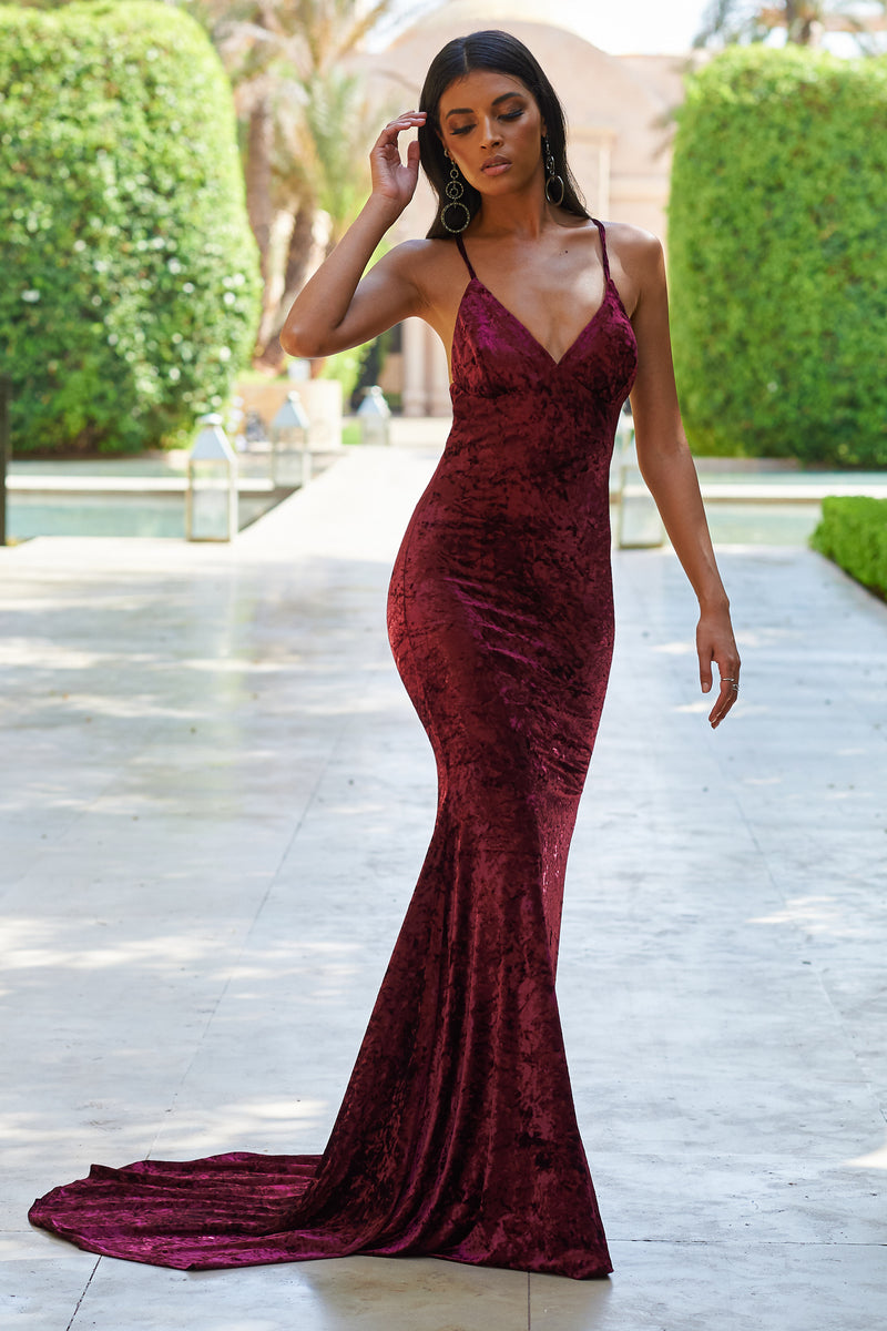 Wine Velour Cross Back Fishtail Maxi - Club L London