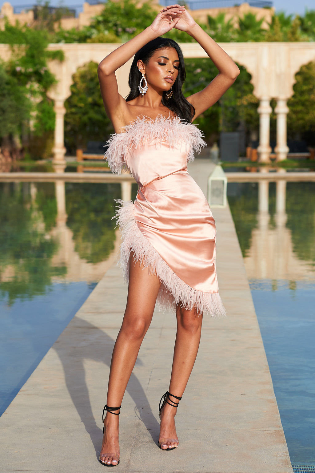 Pale Pink Satin Bandeau Feather Mini Dress