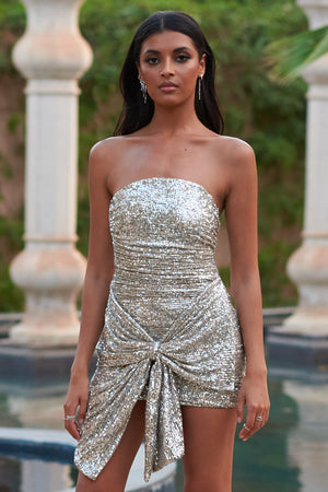 Silver Sequin Bandeau Tie Front  Bodycon Mini Dress - Club L London