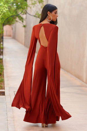 Rust Plunge Front Cape Jumpsuit - Club L London