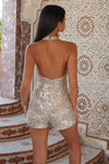 Silver High Neck Sequin Playsuit - Club L London