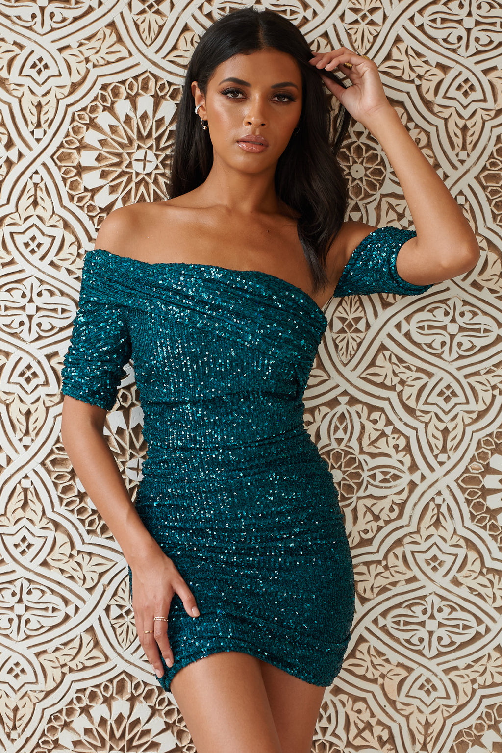 Green Sequin Drape Shoulder Mini Dress - Club L London