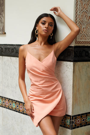Pale Pink Wrap Asymmetric Cami Mini Dress - Club L London