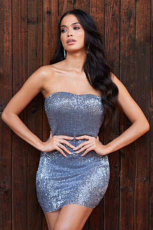Silver Sequin Bandeau Mini Dress - Club L London