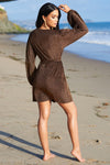 Brown Metallic Plunge Belted Mini Dress - Club L London