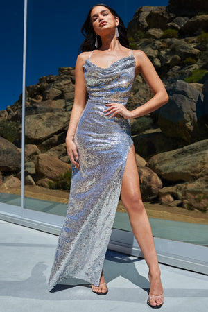 Silver Sequin Cowl Neck Thigh Split Maxi Dress