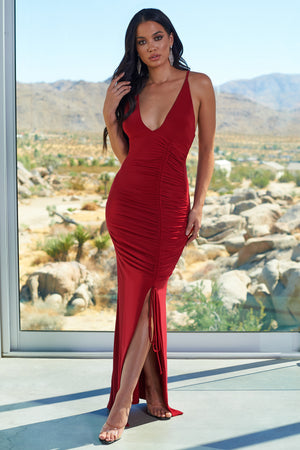 Red Cross Back Ruched Side Detail Maxi Dress - Club L London
