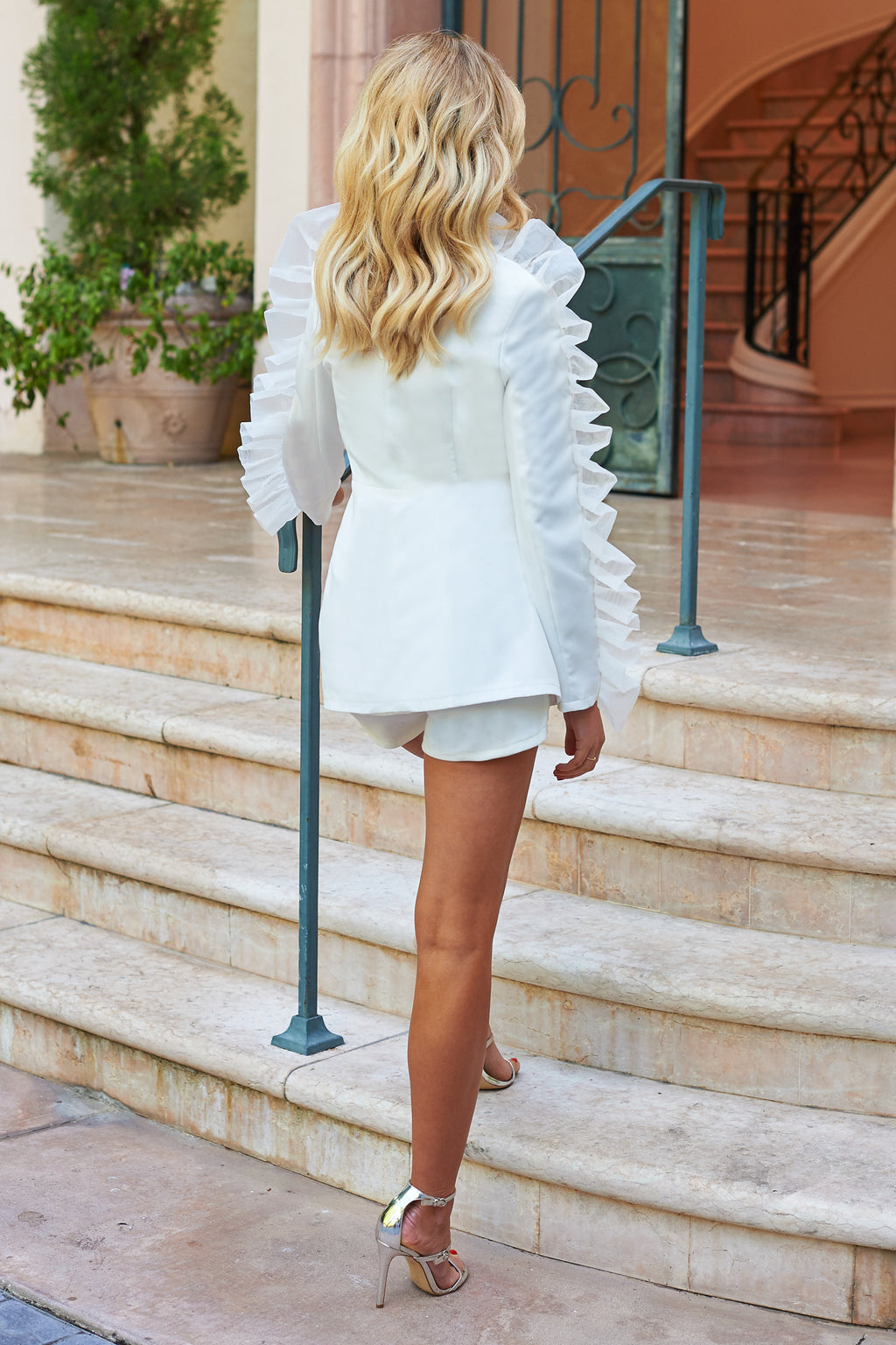 White Organza Ruffle Sleeve Detail Blazer - Club L London