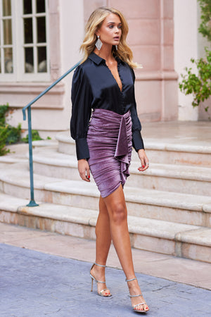 Mink Velvet Ruched Drape Skirt - Club L London