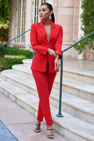 Red Belted Long Blazer - Club L London
