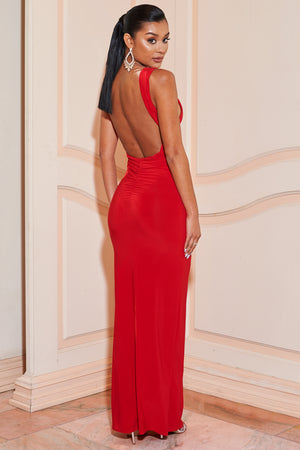 Red Slinky Plunge Neck Sleeveless Split Front Maxi Dress - Club L London