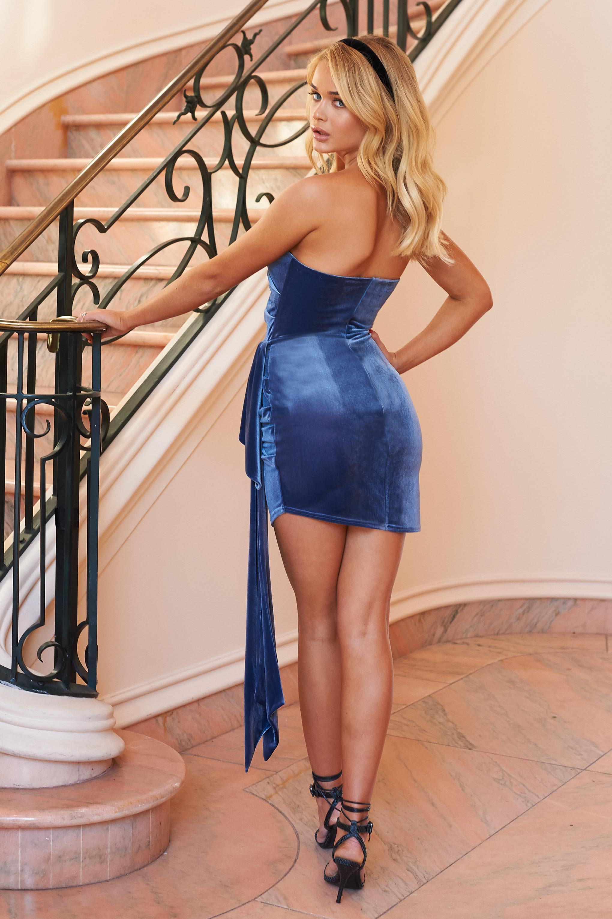Blue Velvet Bandeau Drape Front Mini Dress– Club L London - UK