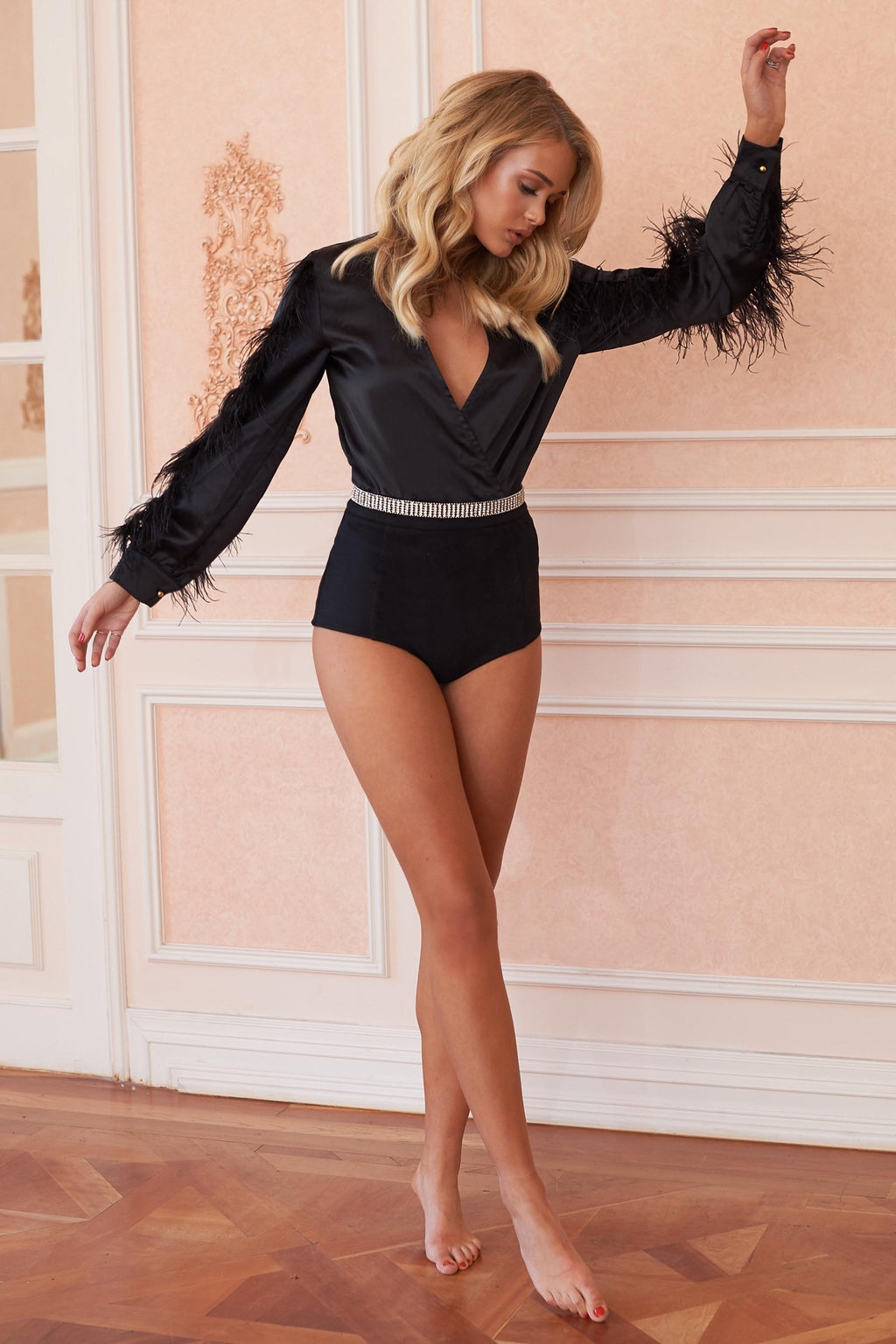 Black Satin Long Sleeve Feather Detail Bodysuit - Club L London