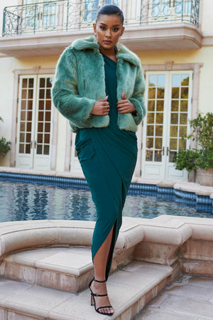 Light Green Collared Faux Fur Coat - Club L London
