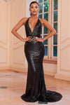 Black Sequin Halter Neck Fishtail Maxi Dress - Club L London
