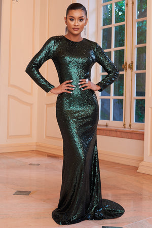 Green Sequin Long Sleeve Fishtail Maxi Dress - Club L London