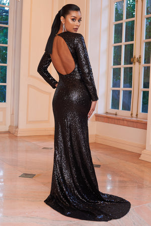 Black Sequin Long Sleeve  Fishtail Maxi Dress - Club L London