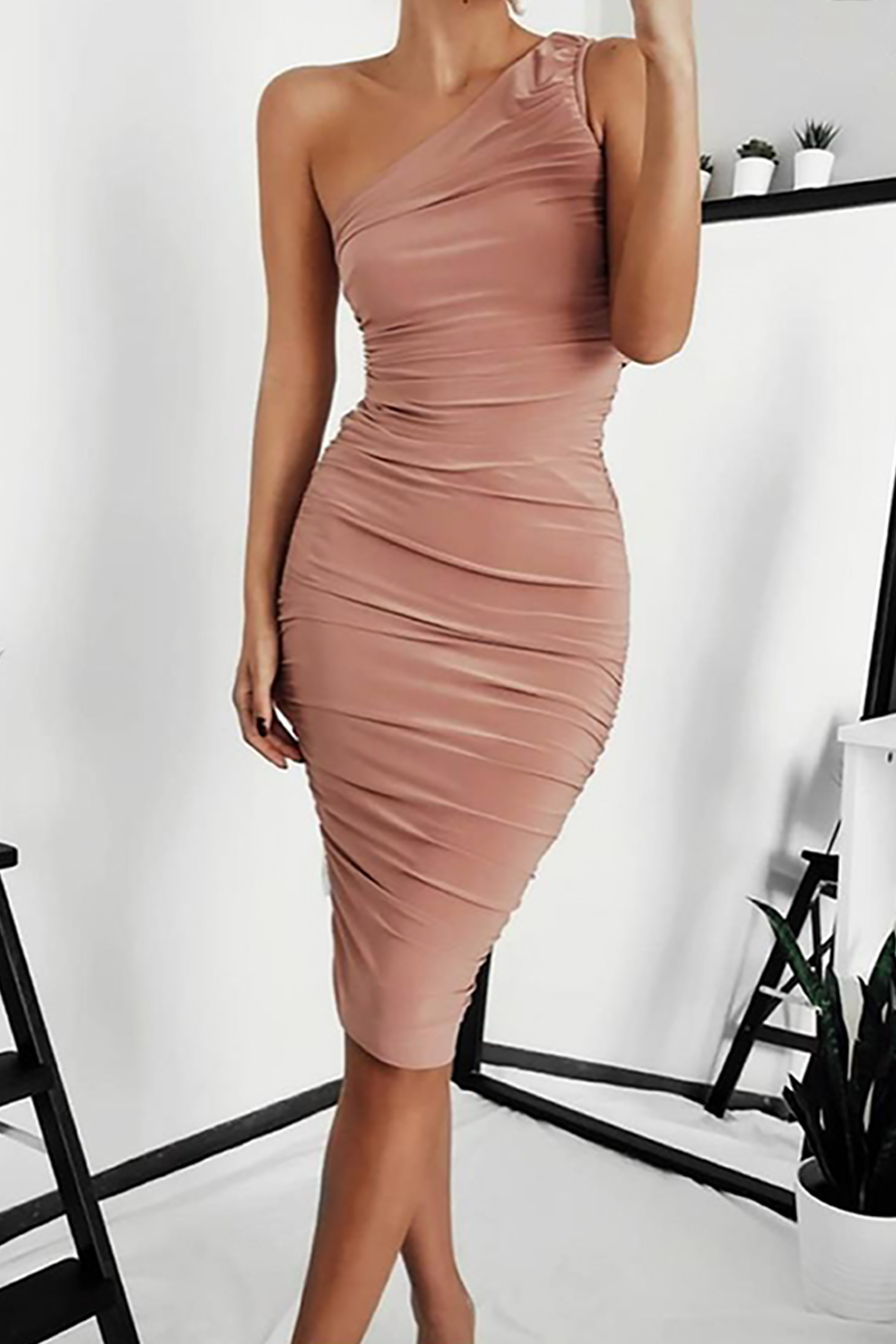 Nude One Shoulder Ruched Midi Dress Club L London
