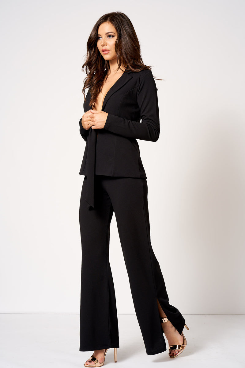 Black High Waisted Side Split Trousers - Club L London