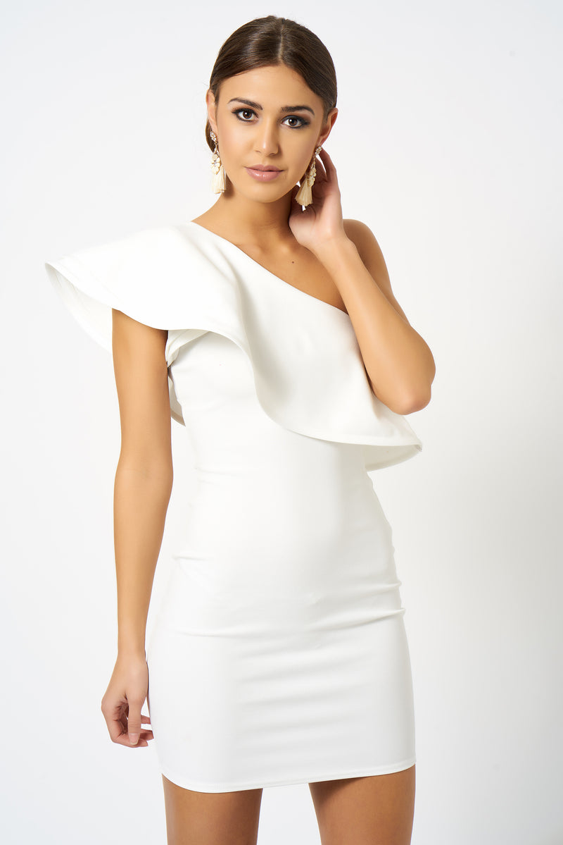 White Frill One Shoulder Mini Bodycon Dress [product_collection] - Club L London ClubL
