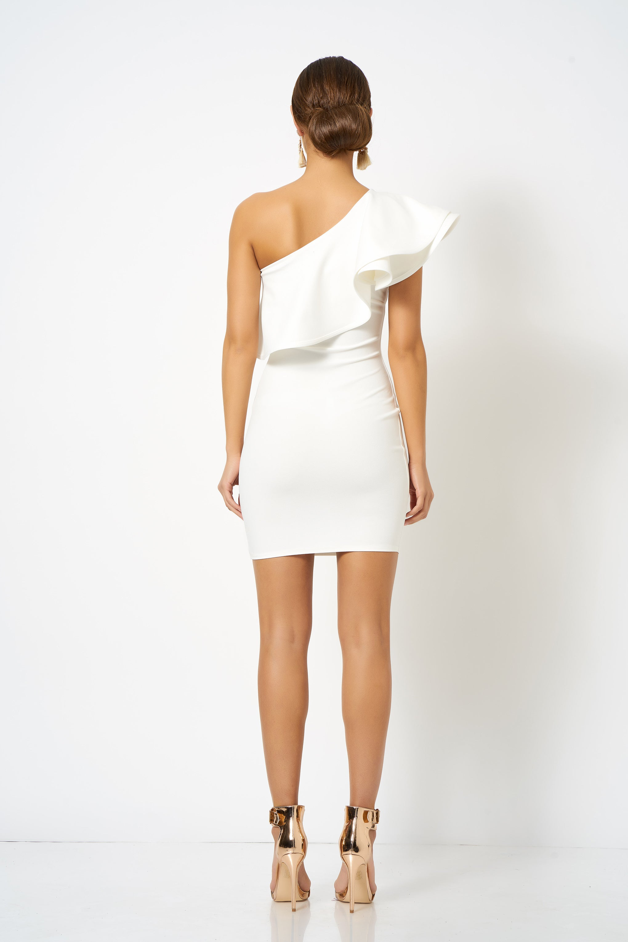 04b29c78095 White Frill One Shoulder Mini Bodycon Dress [product_collection] - Club L  London ClubL