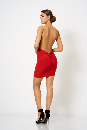 Red Backless Knot Detail Mini Bodycon Dress - Club L London