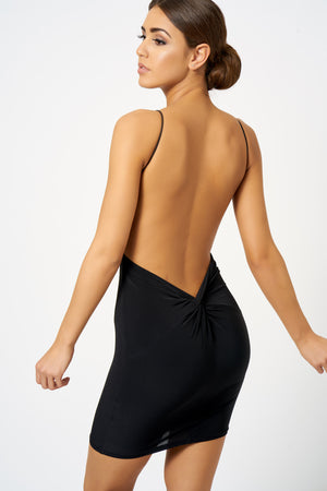 Black Backless Knot Detail Mini Bodycon Dress - Club L London