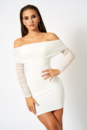White Ruched Mesh Bardot Bodycon Mini Dress
