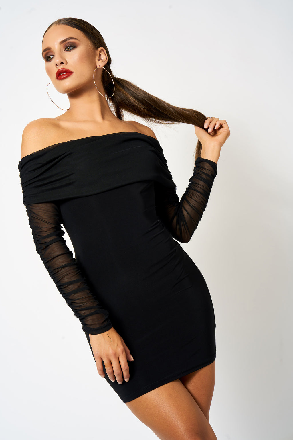 Black Ruched Mesh Bardot Bodycon Mini Dress