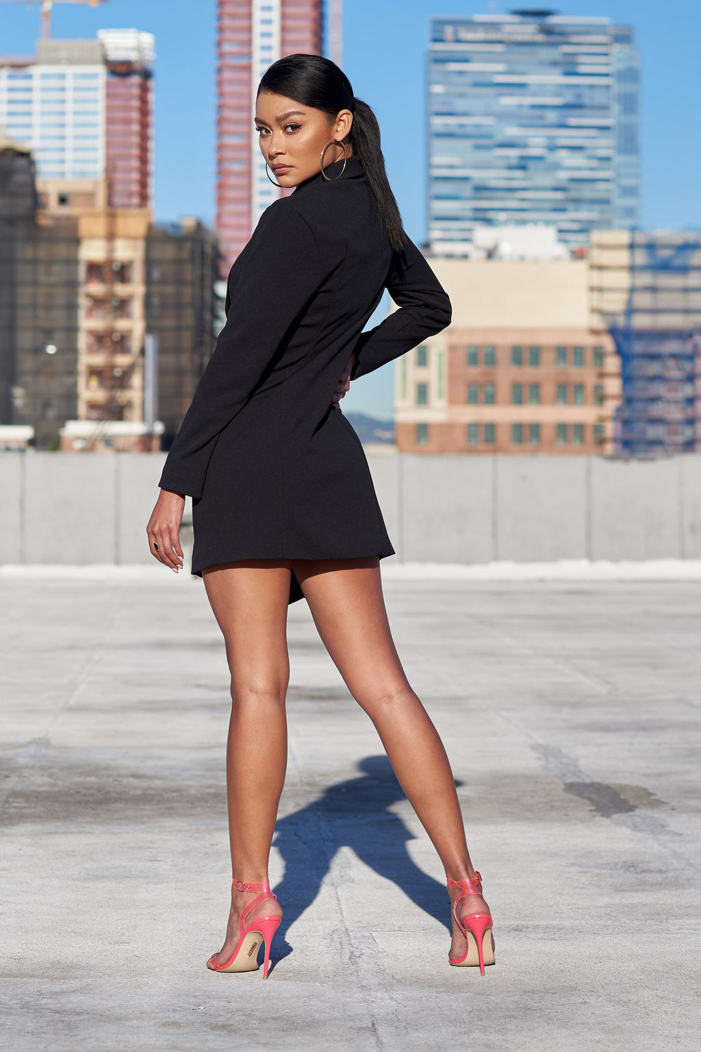 Black Wrap Over Asymmetric Blazer Dress - Club L London
