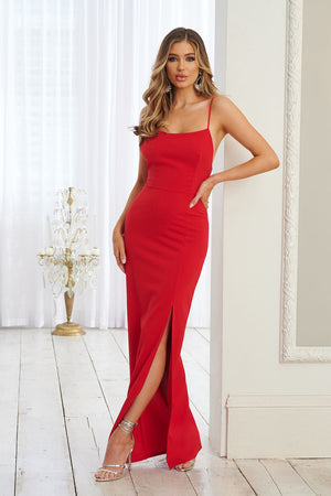 Red Square Neck Thigh Split Tailored Maxi Dress - Club L London