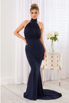 Navy Backless Halter Neck Fishtail Maxi Dress - Club L London