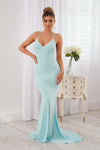 Duck Egg Blue Cross Back Fishtail Maxi Dress - Club L London