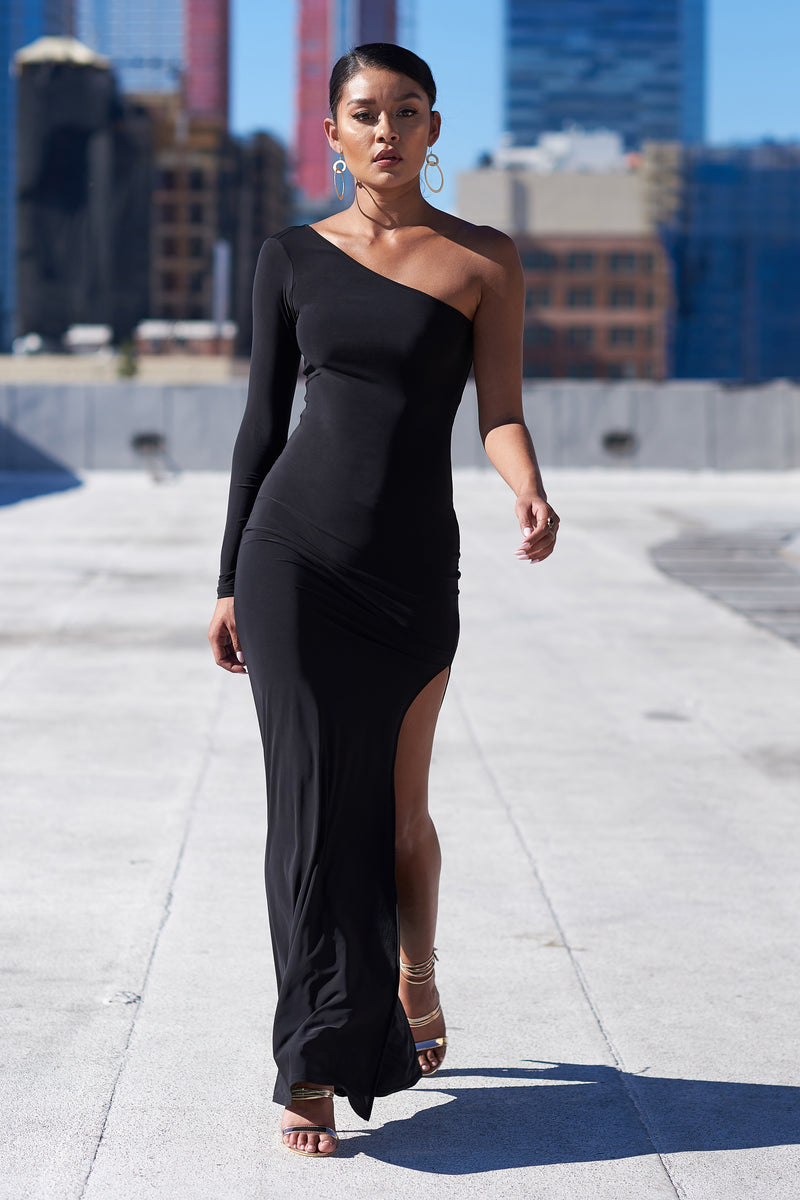 Black One Shoulder Split Maxi Dress - Club L London