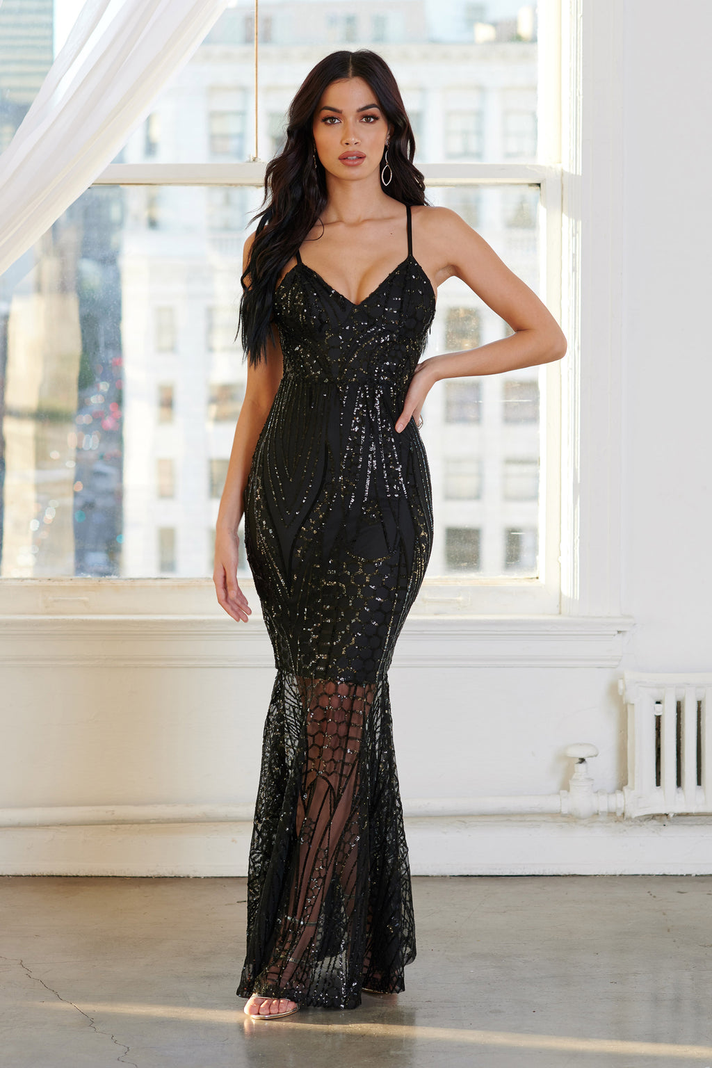 Black Sequin Fishtail Maxi Dress - Club L London