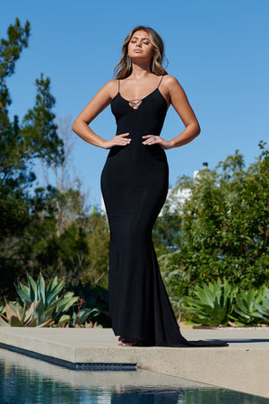 Black Cross Front Plunge Fishtail Maxi Dress - Club L London