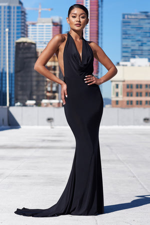 Black Cowl Neck Low Back Maxi Dress - Club L London