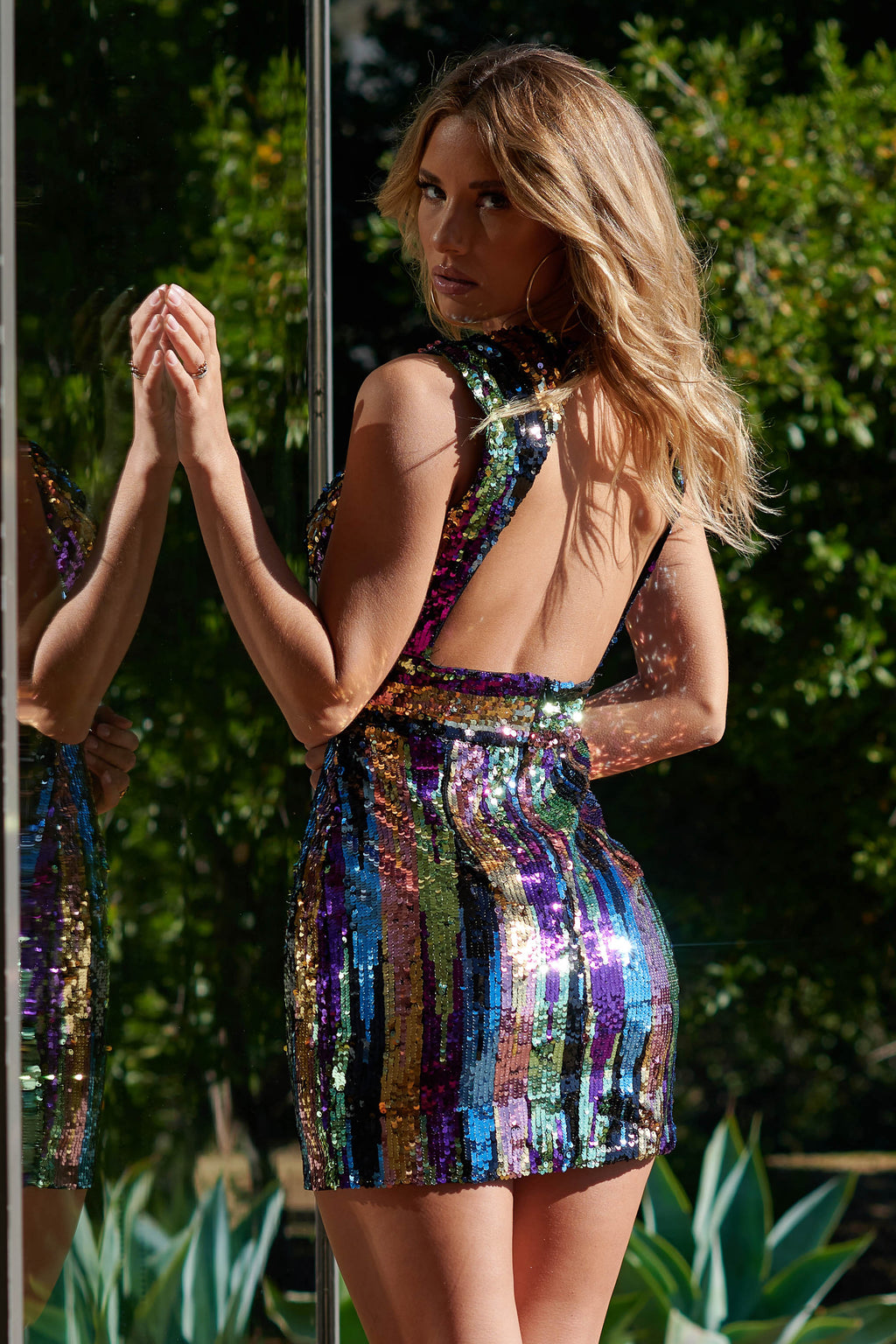 Multi-coloured Striped Sequin Plunge Backless Mini Dress - Club L London