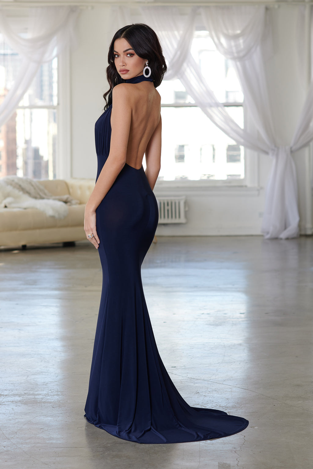 Navy Backless Halterneck Fishtail Maxi Dress - Club L London