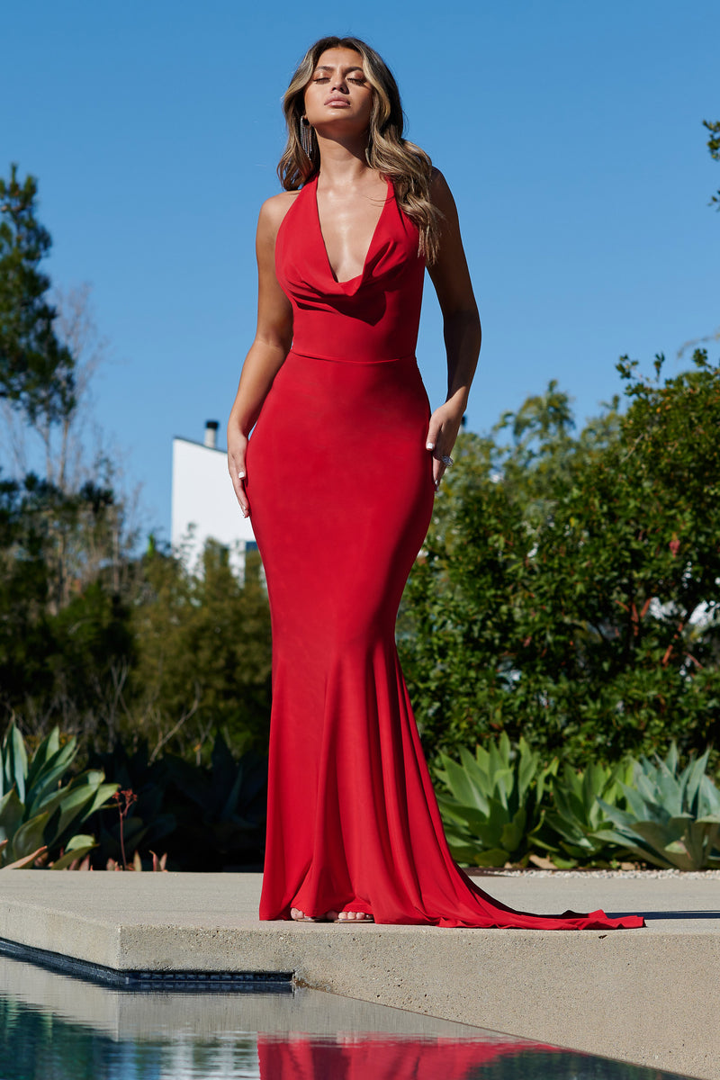 Red Cowl Neck Low Back Maxi Dress